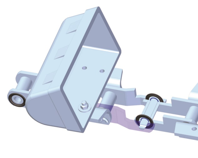 BMG's Tsubaki Workhorse elevator chains and backstop cam clutches for inclined conveyors and bucket elevators