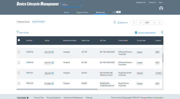 Yokogawa Releases Device Lifecycle Management, a New IIoT Service for the Cloud-based Management of Device Information
