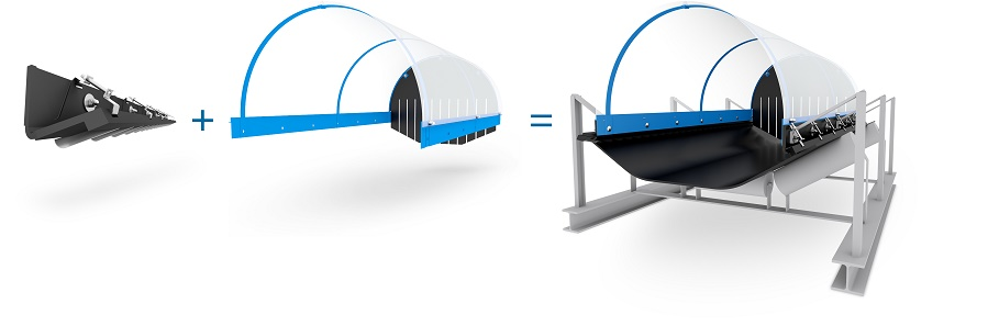 BLTWORLD's DustScrape dust emission prevention system for bulk materials handling on conveyor belts